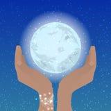 被折叠的手小船举行月亮天空夜 向量例证
