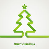 被折叠的纸圣诞节绿色树卡片 免版税图库摄影