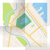 被折叠的纸城市地图 顶视图 免版税库存照片