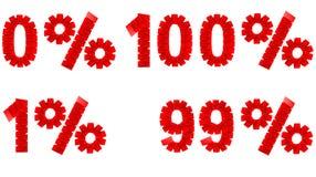 0 1 99 100%被折叠的纸标志 免版税库存照片