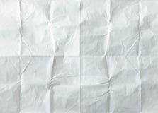 被折叠的纸页白色 老纸被击碎的和被折叠的白色板料  剪报便条纸路径影子粘性黄色 纸张起了皱纹 图库摄影