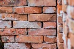 被折叠的老橙色砖,修理和construction_的 库存图片