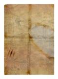 被折叠的脏的老纸张 免版税库存照片