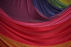 被折叠的降伞织品的段在美好的颜色的 免版税库存图片