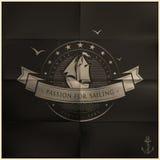 被折叠的黑航行徽章 免版税库存照片