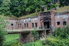 被抛弃的普鲁士人的堡垒`国王弗里德里克-威谦廉我`在加里宁格勒 图库摄影
