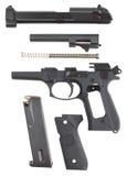 被拆卸的手枪 免版税库存图片