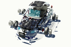 被拆卸的汽车。 免版税库存图片