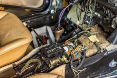 被拆卸的汽车控制台 免版税图库摄影