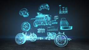 被拆卸的汽车,引擎,安全位子,仪表盘,航海,加速器,汽车音象系统,轮胎, X-射线图象 向量例证