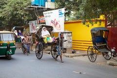 被拉扯的人力车,加尔各答,印度 库存图片