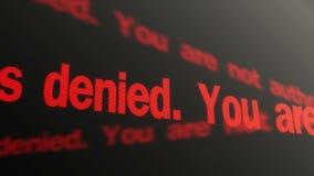 被拒绝的存取 您没有被批准进行 连续文本 LED移动的标志 皇族释放例证