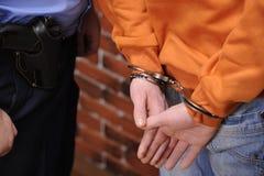 被拘留者手铐 免版税库存图片