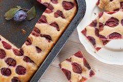 被拼写的夏南瓜蛋糕用李子 库存图片