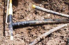 被挖掘的管子 免版税库存照片