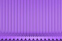 被挤压的心形形成的几何表面,爱概念-抽象背景的美好的紫色3D例证 向量例证