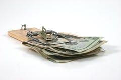 被捉住的货币moneytrap鼠标陷井 免版税库存图片