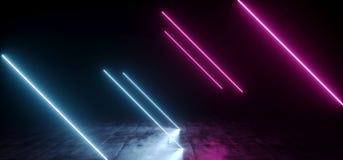 被掀动的典雅的线塑造了在地下霍尔的霓虹萤光减速火箭的激光被带领的展示阶段充满活力的蓝色紫色发光的光 向量例证