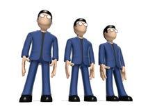 被排列的3D漫画人物 库存例证