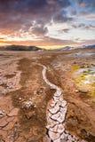 被排泄的水运河, Myvatn地区,冰岛 免版税库存照片