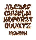 被排版的巧克力熔化,美好的字母表,传染媒介例证 库存照片