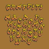 被排版的Graffity字母表传染媒介手拉的难看的东西字体油漆标志设计墨水样式纹理 向量例证