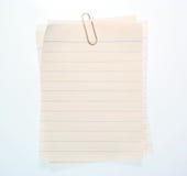 被排行的笔记本纸张 免版税图库摄影