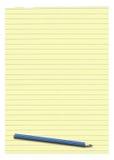 被排行的纸铅笔黄色 免版税库存图片