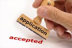 被接受的申请 库存图片