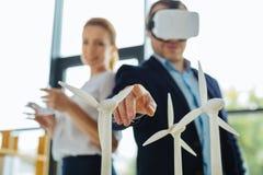 被接触的风车模型的选择聚焦 免版税库存照片