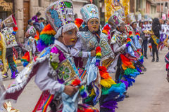 被掩没的舞蹈家Virgen del卡门Pisac库斯科省秘鲁 免版税库存图片