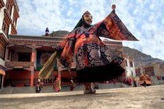 被掩没的舞蹈节日在Lamayuru修道院(印度)里 库存照片