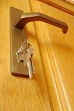 被插入的匙孔锁上捆 库存照片