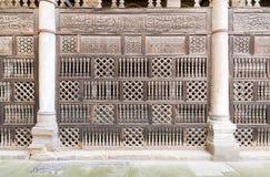 被插入的木装饰Arabisk门面,贵族AlMaridani清真寺  图库摄影
