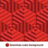 被摆正的样式 在红颜色的无缝的几何纹理 作用时髦的瓦片 3d抽象动态背景被创造立方体 库存例证