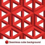 被摆正的样式 在红颜色的无缝的几何纹理 作用时髦的瓦片 3d抽象动态背景被创造立方体 皇族释放例证
