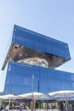 被摆正的顶头雕塑的看法在Cagnes sur梅尔,法国海滨购物中心区域  库存照片