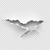 被撕毁的孔在透明的被剥去的纸 免版税库存图片
