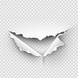 被撕毁的孔在透明的被剥去的纸 库存照片