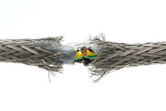 被撕毁的损坏的电缆 免版税库存图片