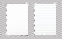 被撕毁的空白和被排行的白色笔记,文本的笔记本纸板料黏附了与灰色稠粘的磁带在被摆正的背景 向量例证
