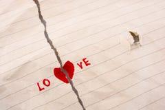 被撕毁的纸说爱 库存图片