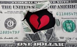 被撕毁的美元 免版税库存照片