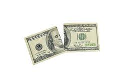 被撕毁的美元 图库摄影