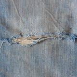 被撕毁的老蓝色牛仔裤 图库摄影