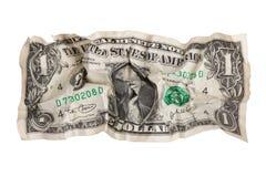 被撕毁的被弄皱的美元 库存图片
