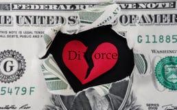被撕毁的离婚美元 库存图片