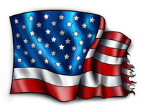 被撕碎的美国国旗 免版税库存照片