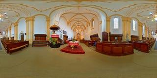 被改革的堡垒教会法坛在Târgu MureÈ™,罗马尼亚 库存图片
