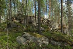 被放弃的二战地堡在Vaermland,瑞典 它称Skans 176 Dypen 免版税库存图片